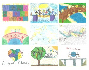 A set of 9 cards, featuring the Building Bridges Between Faiths art contest winners.